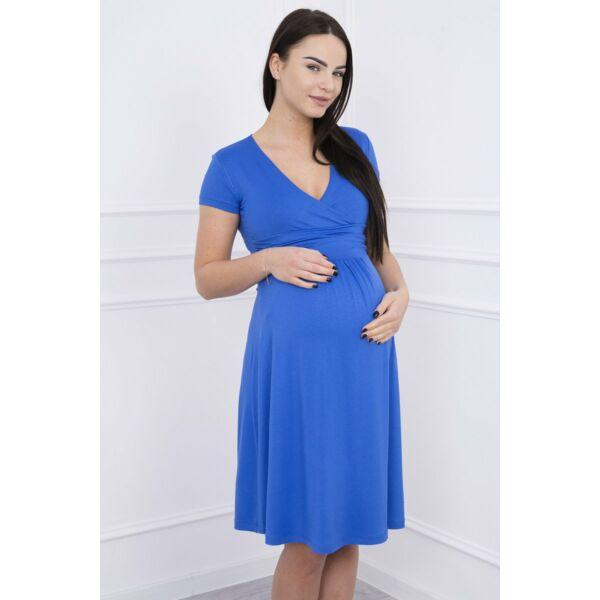 Kék, lenge, rövid ujjú szoptatós kismamaruha